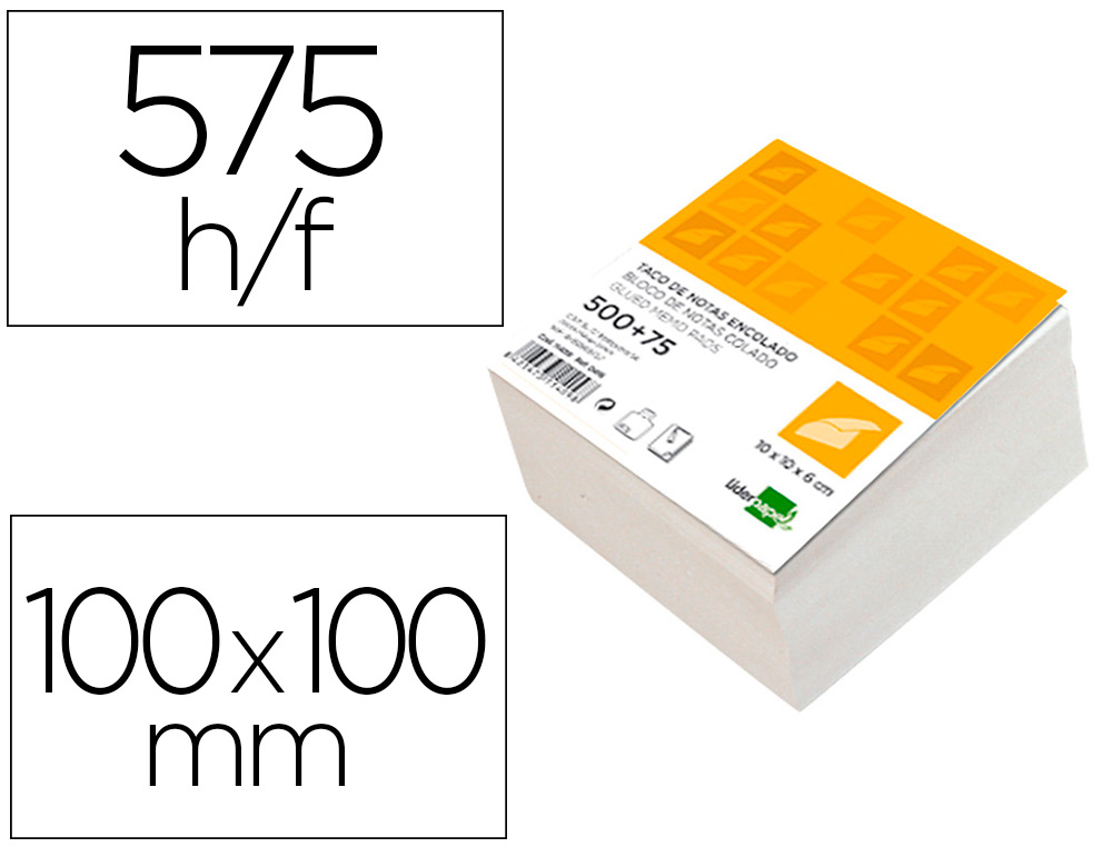 TACO LIDERPAPEL ENCOLADO 100X1 00X60 MM BLANCO