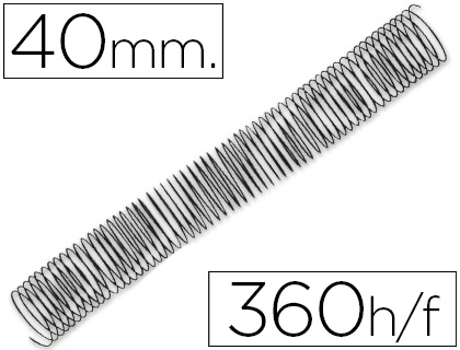 ESPIRAL METALICO Q-CONNECT 64 5:1 40MM 1,2MM CAJA DE 25 UNIDADES
