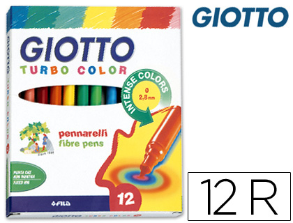 ROTULADOR GIOTTO TURBO COLOR CAJA DE 12 COLORES LAVABLES CON PUNTA BLOQUEADA