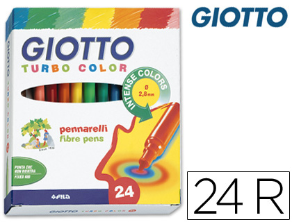ROTULADOR GIOTTO TURBO COLOR CAJA DE 24 COLORES LAVABLES CON PUNTA BLOQUEADA