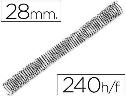 ESPIRAL METALICO Q-CONNECT 64 5:1 28MM 1,2MM CAJA DE 50 UNIDADES
