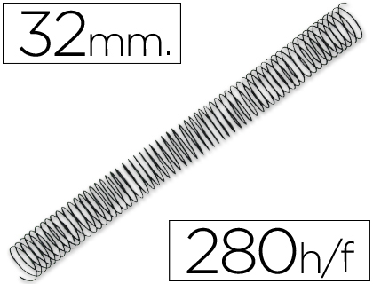 ESPIRAL METALICO Q-CONNECT 64 5:1 32MM 1,2MM CAJA DE 50 UNIDADES